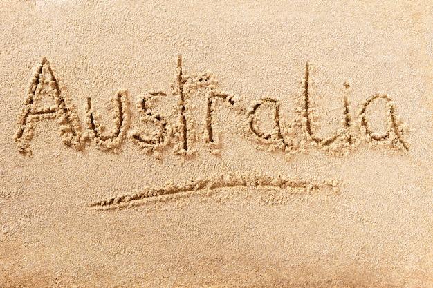 Mensagem de escrita de praia de verão na austrália Foto Premium