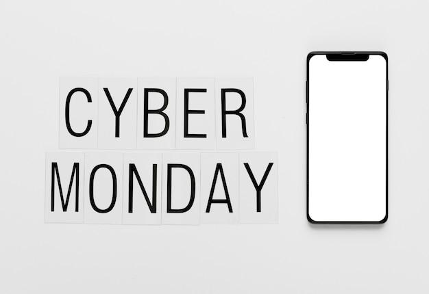 Mensagem on-line segunda-feira cibernética com telefone Foto gratuita