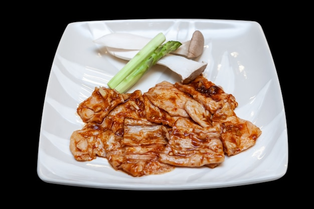 Menu de yakiniku de intestino bovino japonês. Foto Premium