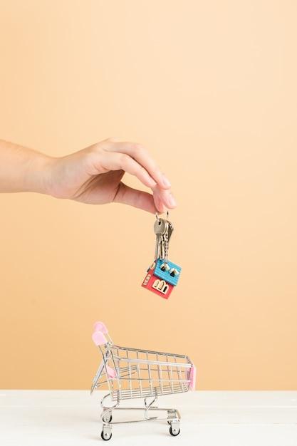 Mercado imobiliário, casa no carrinho de compras e chaves Foto gratuita