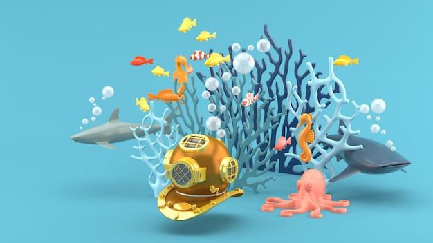 Mergulho mascarado sob o coral azul, peixes coloridos, tubarão, cavalos-marinhos e polvos no azul. 3d rendem Foto Premium