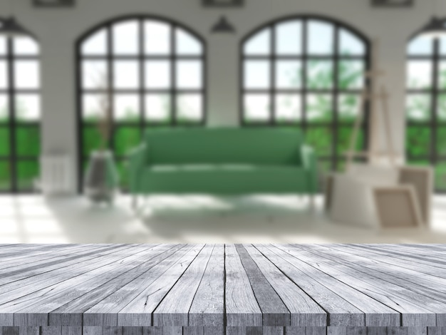 Mesa 3d de madeira com vista para um interior de sala defocussed Foto gratuita