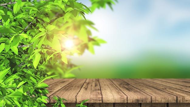 Mesa 3d de madeira e folhas contra uma paisagem desfocada Foto gratuita