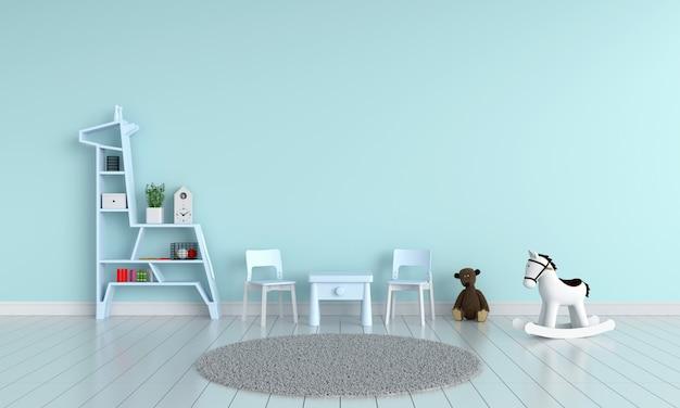 Mesa azul e cadeira na sala de criança para maquete Foto Premium