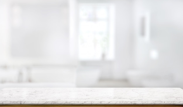 Mesa de balcão de mármore no fundo da sala de banho Foto Premium