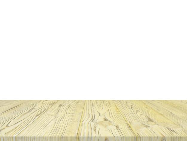 Mesa de madeira amarela isolada no pano de fundo branco Foto gratuita