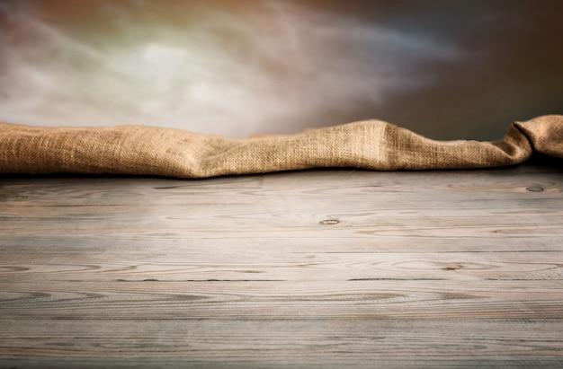 Mesa de madeira com fundo Foto Premium