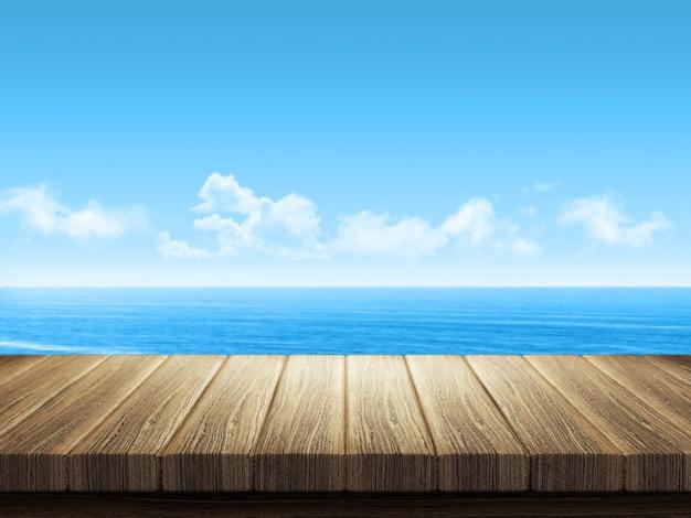 Mesa de madeira com paisagem do oceano em segundo plano Foto gratuita