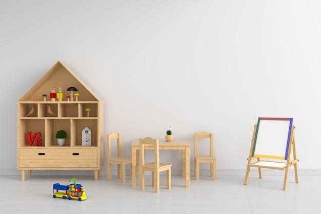 Mesa de madeira e cadeira na sala de criança para maquete Foto Premium