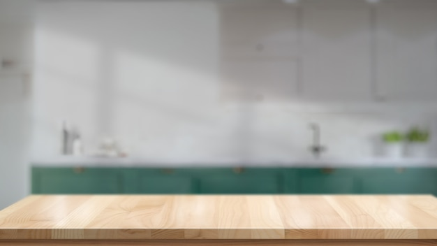 Mesa de madeira em branco ou contador no fundo da sala de cozinha Foto Premium