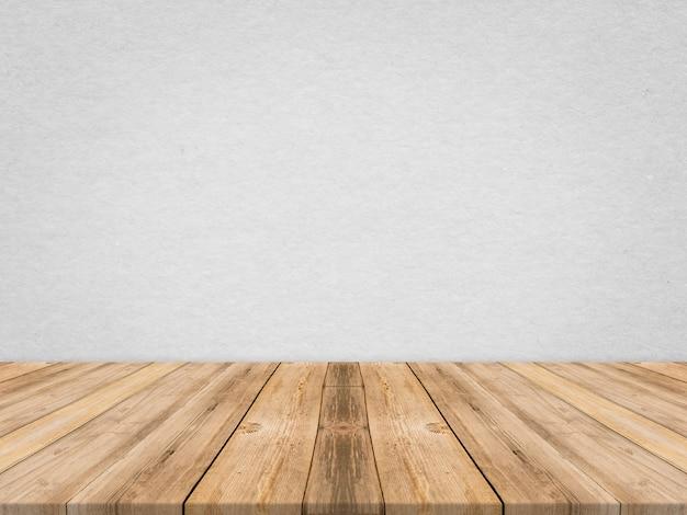 Mesa de madeira em parede de textura de papel tropical, modelo mapeado para exibição de produto, apresentação de negócios. Foto gratuita