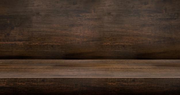 Mesa de madeira escura 3d texturizada para exposição do produto Foto Premium