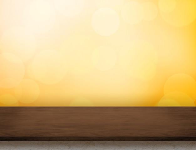 Mesa de madeira marrom escura vazia na luz de fundo laranja bokeh Foto Premium