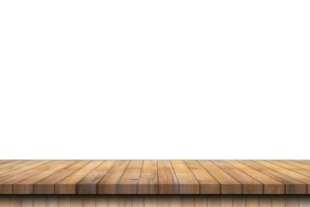 Mesa de madeira vazia em fundo branco isolado e montagem de exibição com espaço de cópia para o produto. Foto Premium