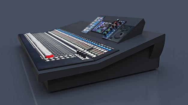Mesa de mistura cinza de tamanho médio para trabalho em estúdio e performances ao vivo em um espaço cinza. renderização em 3d. Foto Premium