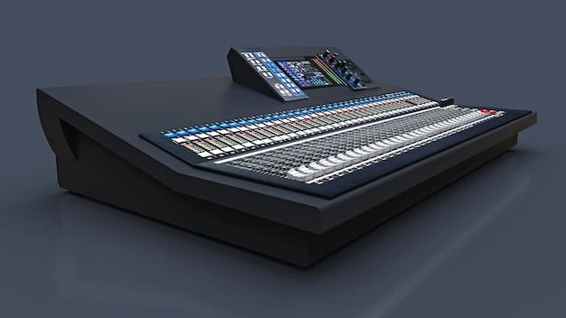 Mesa de mixagem cinza de tamanho médio para trabalho de estúdio e performances ao vivo em um fundo cinza. renderização 3d. Foto Premium