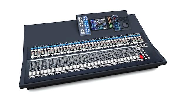 Mesa de mixagem cinza de tamanho médio para trabalho em estúdio e performances ao vivo em um branco Foto Premium