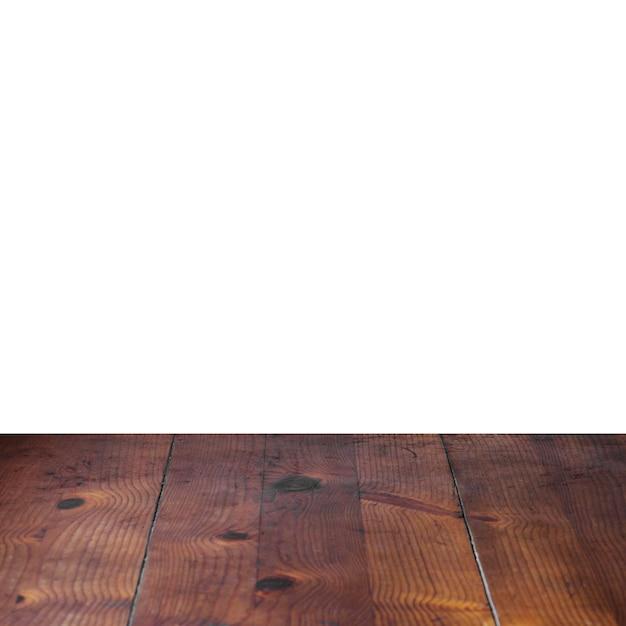 Mesa de prancha de madeira na frente de fundo branco Foto gratuita