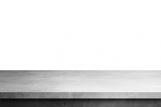 Mesa de prateleira de cimento isolada em um fundo branco, para exibir produtos Foto Premium