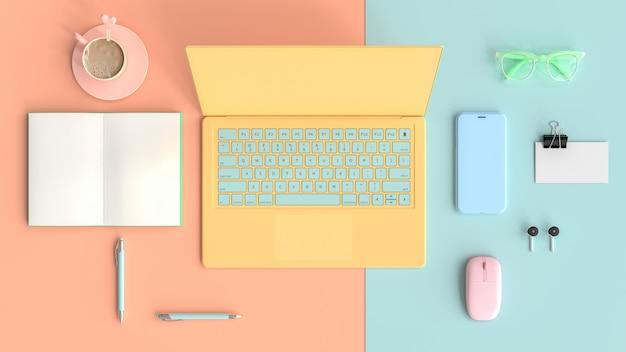 Mesa de trabalho mesa de trabalho pastel Foto Premium