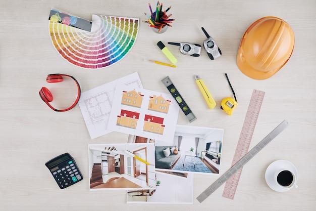 Mesa do arquiteto profissional Foto Premium