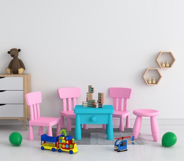 Mesa e cadeira na sala de criança branca para maquete Foto Premium