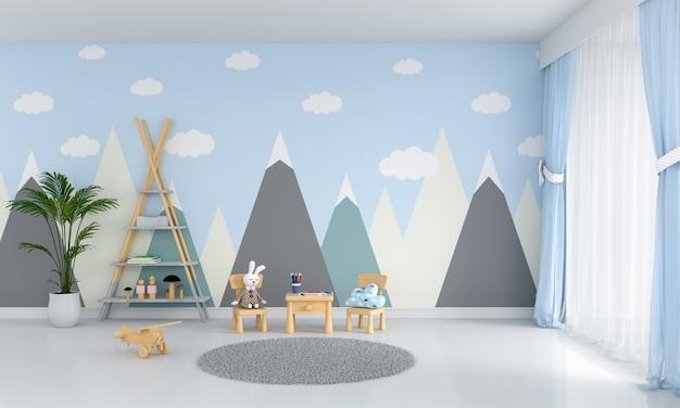 Mesa e cadeira no quarto de crianças azul Foto Premium