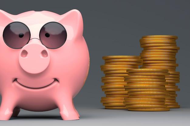 Metáfora de negócios - cofrinho rosa na ilustração 3d de óculos de sol espião Foto Premium