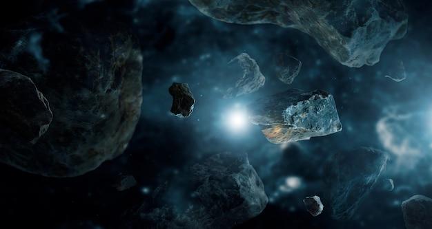 Meteoritos em planetas do espaço profundo. Foto Premium