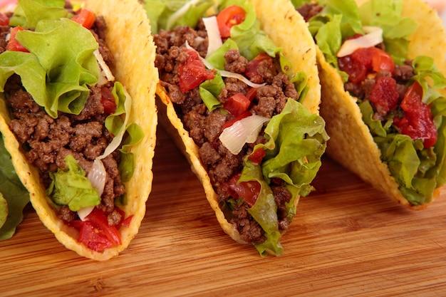Mexicano, carne, tacos, madeira, tabela Foto gratuita