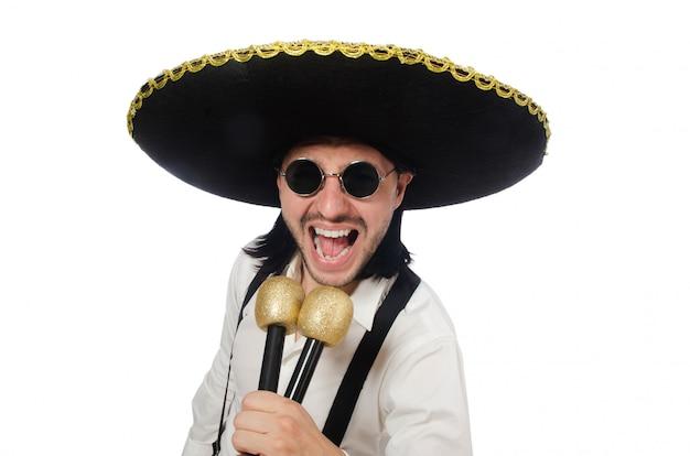 Mexicano engraçado com maracas isolado no branco Foto Premium