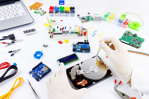 Microeletrônica de programação de computadores Foto Premium