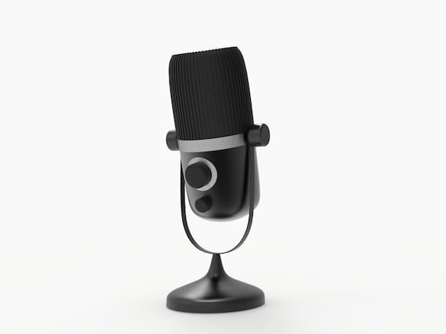 Microfone 3d programa de rádio ou conceito de podcast de áudio. ilustração 3d de microfone vintage Foto Premium