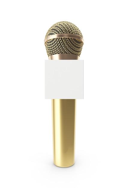Microfone de ouro isolado no branco Foto Premium
