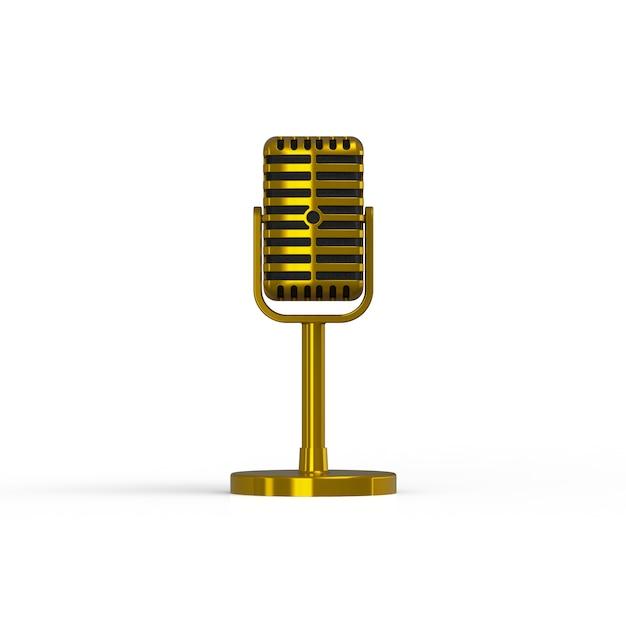 Microfone de ouro vintage isolado no fundo branco, renderização em 3d Foto Premium
