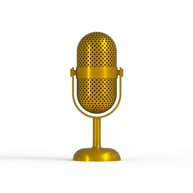 Microfone de ouro vintage isolado no fundo branco Foto Premium