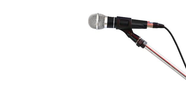 Microfone em carrinho isolado no fundo branco Foto Premium
