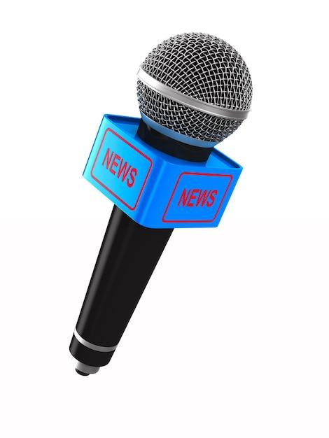 Microfone no espaço em branco. ilustração 3d isolada Foto Premium