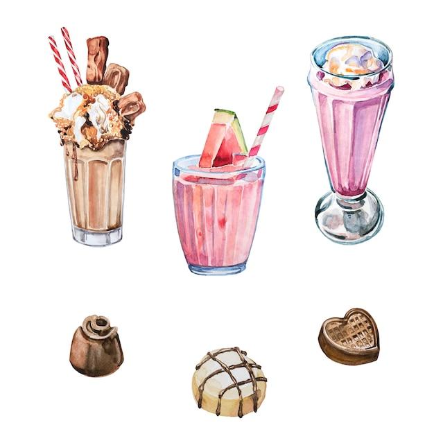 Milkshakea pintado à mão em aquarela e ilustrações de doces doces isoladas. conjunto de clipart em aquarela de coquetéis. elementos de design de doces. Foto Premium