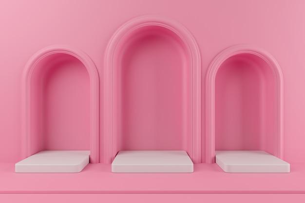 Mínimo conceito cor rosa pódio e plataforma de cor branca para o produto. renderização 3d. Foto Premium
