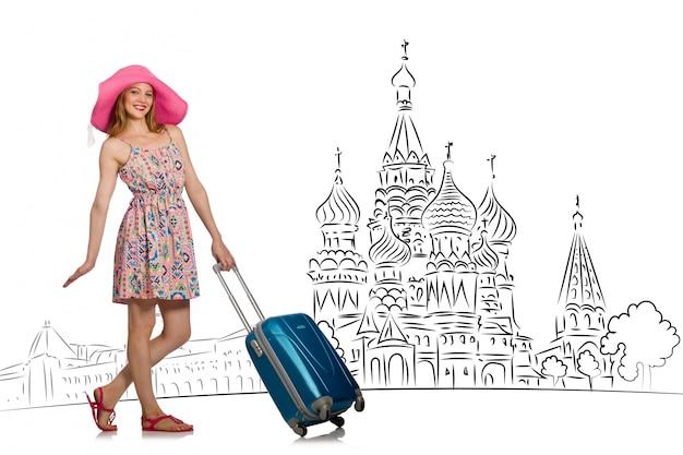 Moça no conceito do turismo a rússia Foto Premium