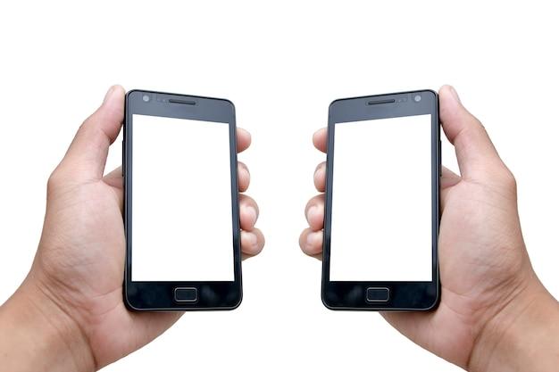 Mock-se a mão segurando o smartphone com tela em branco sobre fundo branco Foto Premium