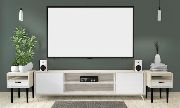 Mock-se armário de pôster de madeira na sala verde vivendo design japonês Foto Premium