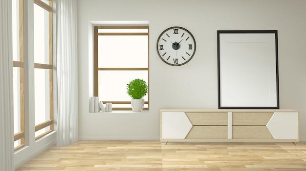 Mock-se armário de tv e exibir com design minimalista quarto e decoração estilo japonês Foto Premium