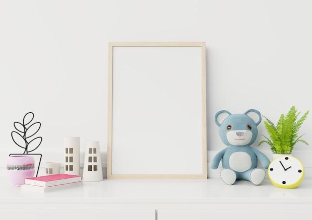Mock-se cartazes no interior do quarto de criança, renderização em 3d Foto Premium