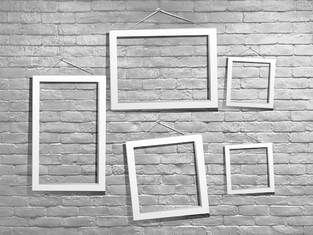 Mock-se moldura branca com parede de tijolo Foto Premium