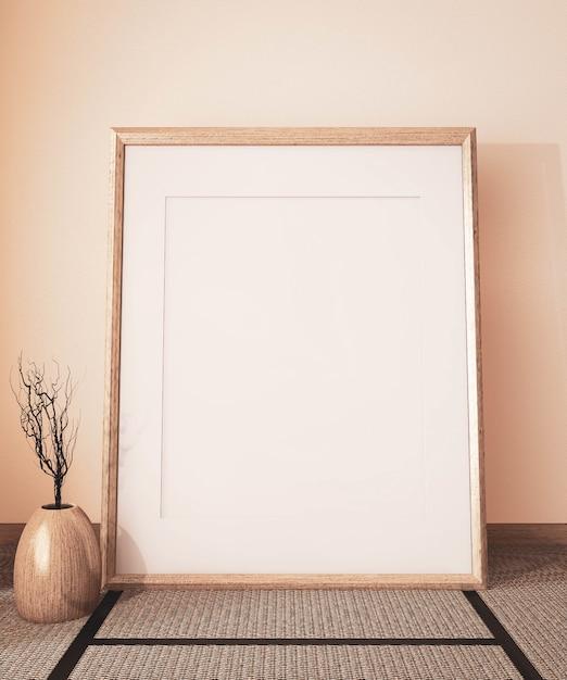 Mock-se moldura de cartaz no quarto vazio japonês e tatame tapete, tom de terra. renderização 3d Foto Premium
