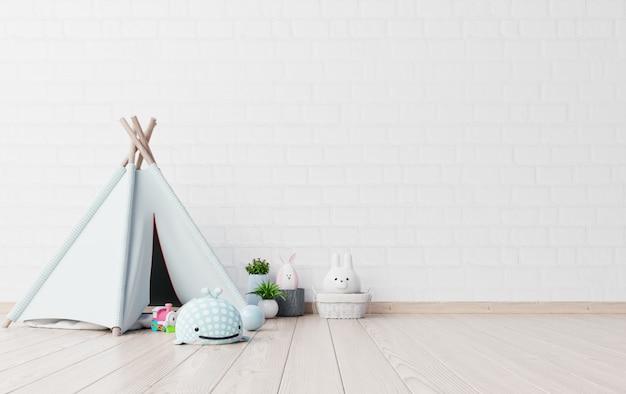 Mock-se na sala de jogos infantil com tenda e mesa sentado dollund. Foto Premium