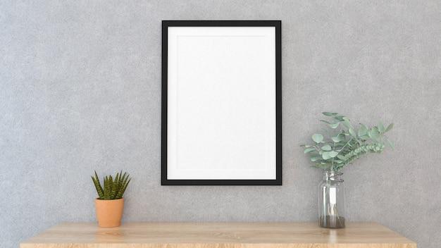 Mock-se quadro de cartaz com fundo interior, renderização em 3d Foto Premium