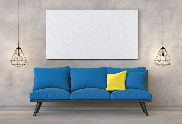 Mock-se quadro de cartaz no fundo de moderna sala de estar moderna hipster Foto Premium